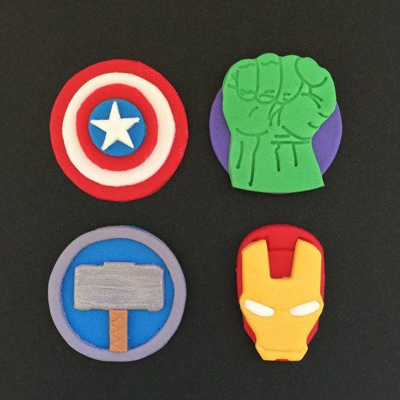 12 Avengers Superhero Cupcake Toppers Fondant By Bakerslovebakery