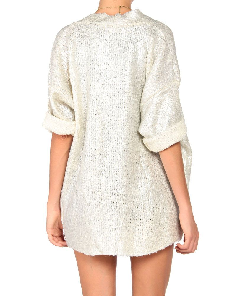 metallic wool open cardigan.