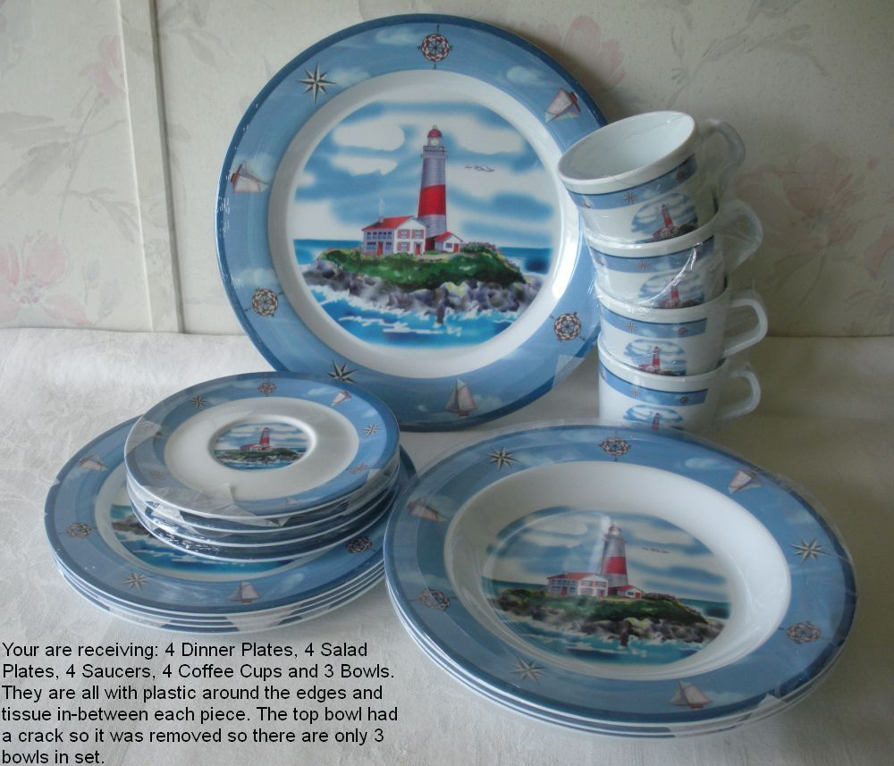 Details About Nautical Breeze 19 Pc Melamine Dinnerware Set New