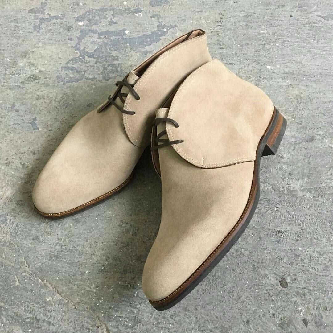 Handmade Men Beige Color Suede Dress Boot Mens Suede Shoes Mens Chukka Boots Ebay Suede Shoes Men Dress Leather Boots Mens Dress Boots