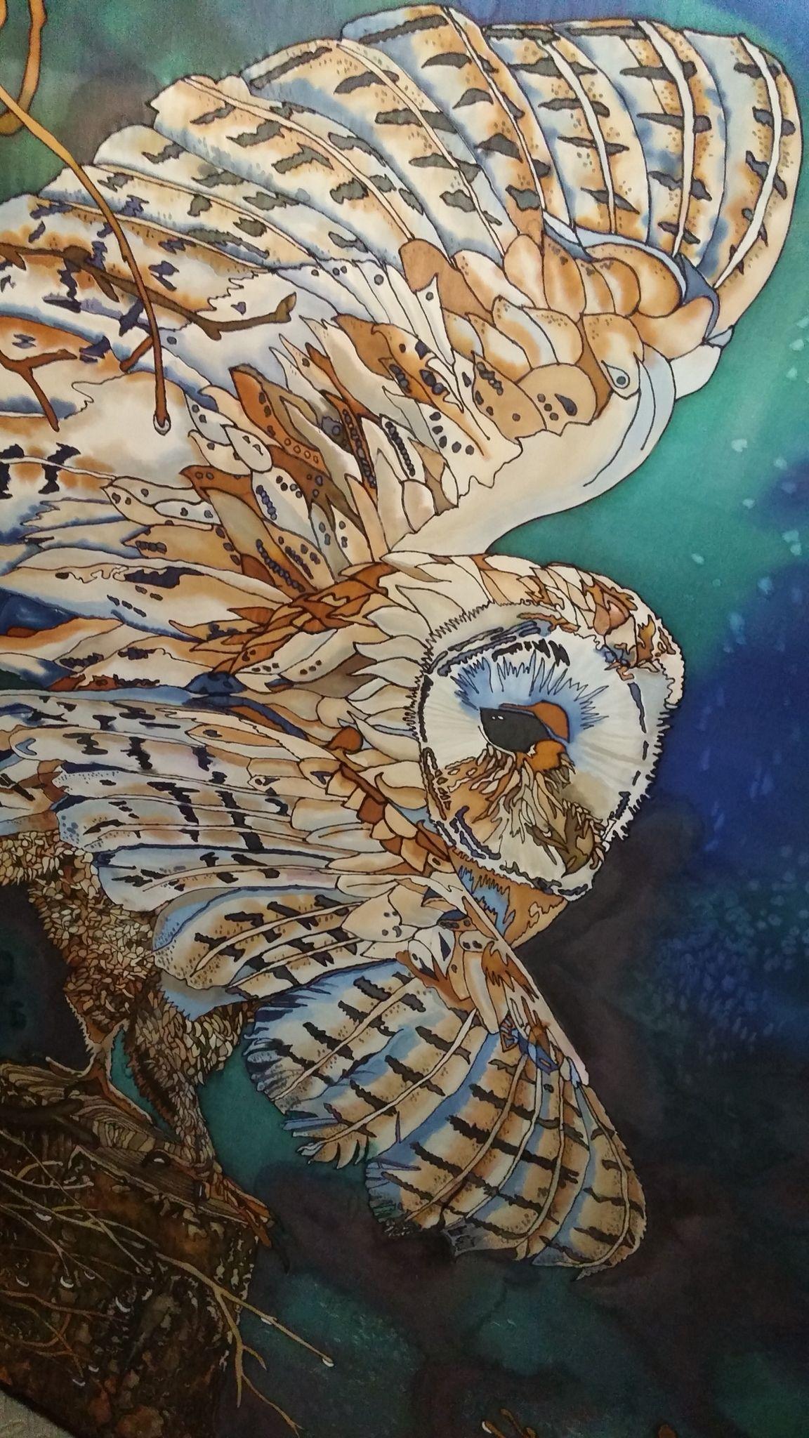 Barn owl silk painting 36 x 48 tracy harris artist san