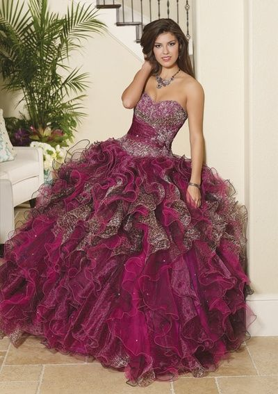 1aa1fe3fa6 ... Quinceanera Dresses With Capelet Sale. Comes in an all brown but I LOVE  the maroon and cheetah! So chic! Glitz!