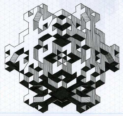 fun with isometric paper 03 Isometric paper, Graph paper art and - isometric graph paper