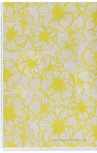 Papier Peint Papier Peint Jaunes Fleurs : Papier Peint Direct