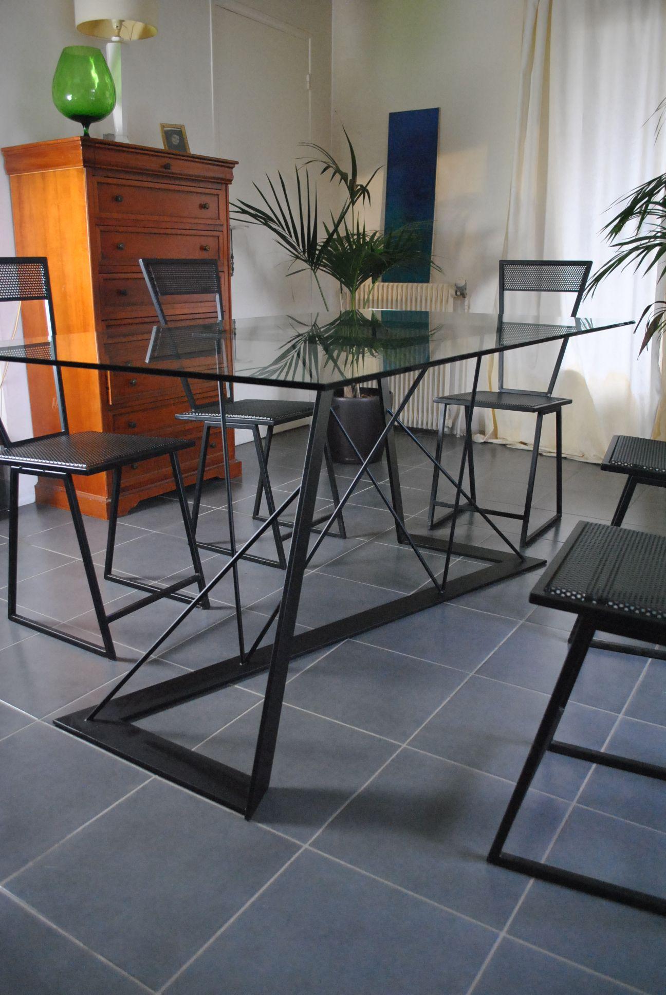 Table Verre Ou Acier 2m X 1m Pied De Table Design En Acier
