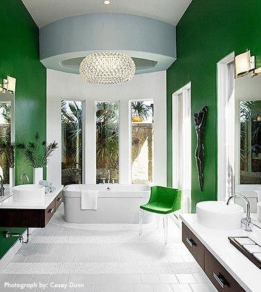 Dramatic emerald green bathroom