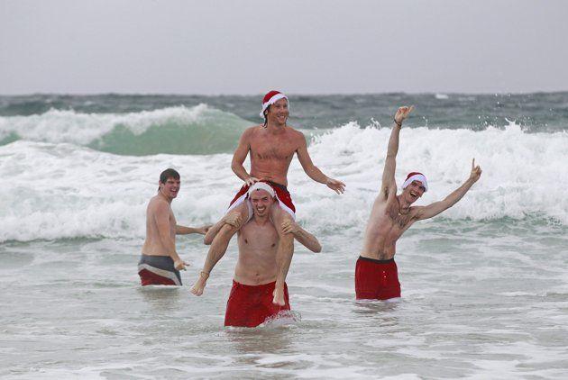 Christmas day on Bondi beach in Sydney