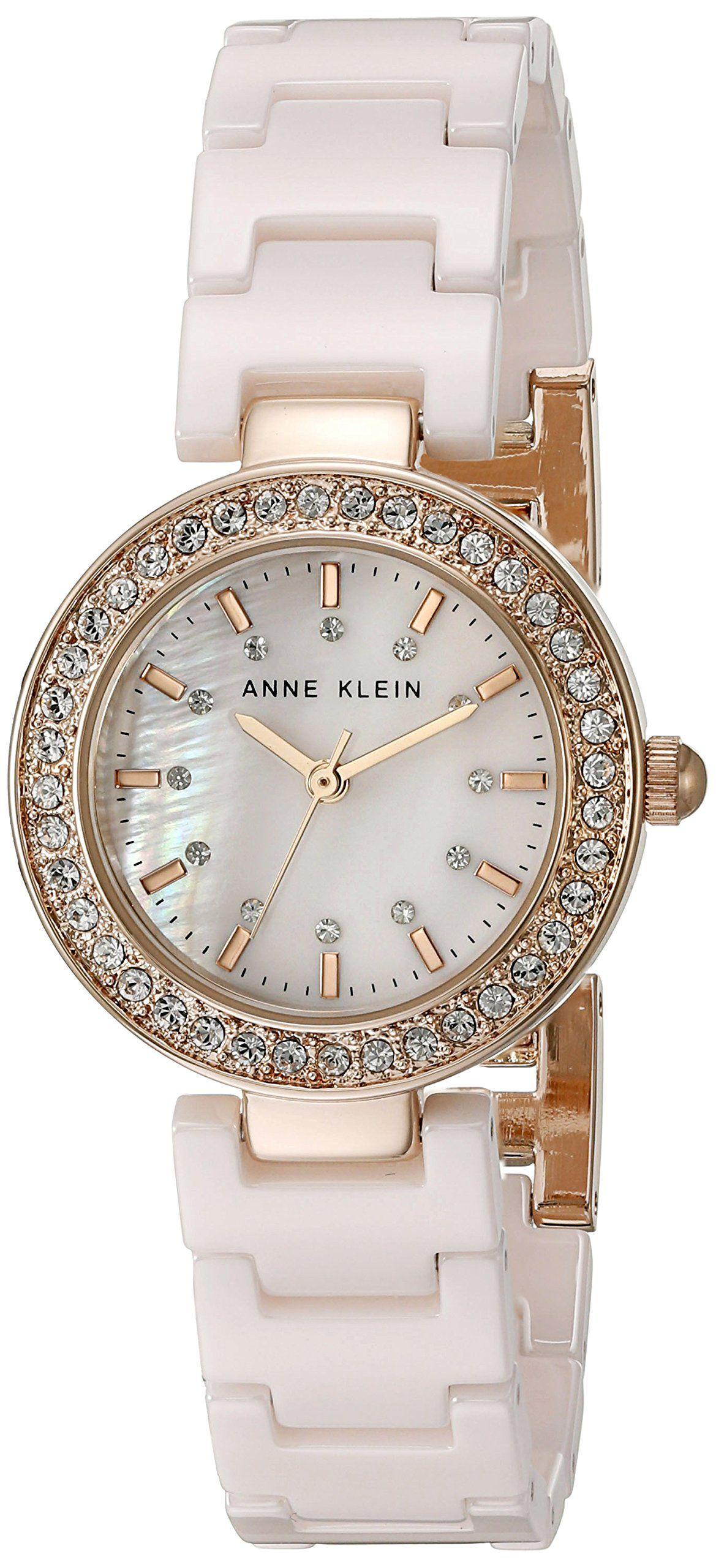 Anne klein womenus akrglp swarovski crystal accented light pink
