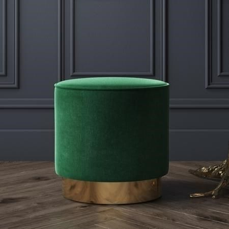 Wondrous Buy Xena Velvet Pouffe In Dark Green Small Round Gmtry Best Dining Table And Chair Ideas Images Gmtryco