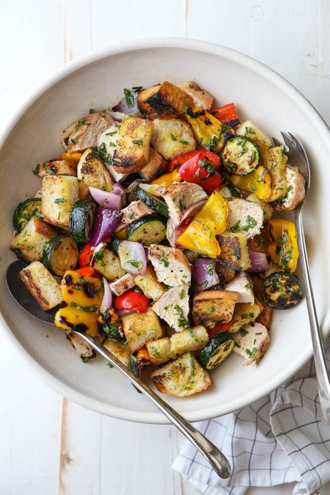 Make the most of summer with this grilled chicken and veggie panzanella salad! This is my new favorite simple but satisfying summer meal and one I've made several times for both lunch and dinner in just the last few weeks. It's filled with chicken, veggies like red onion, zucchini and bell peppers, and crusty bread all charred on the …