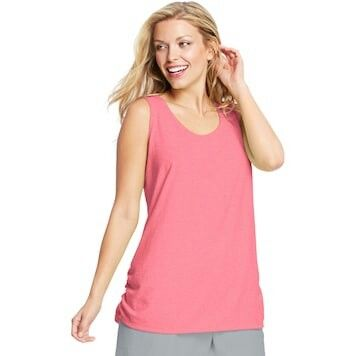 33aa4db8fea1d Plus Size Just My Size Ruched Scoopneck Tank Neon Pinkpop Heather ...