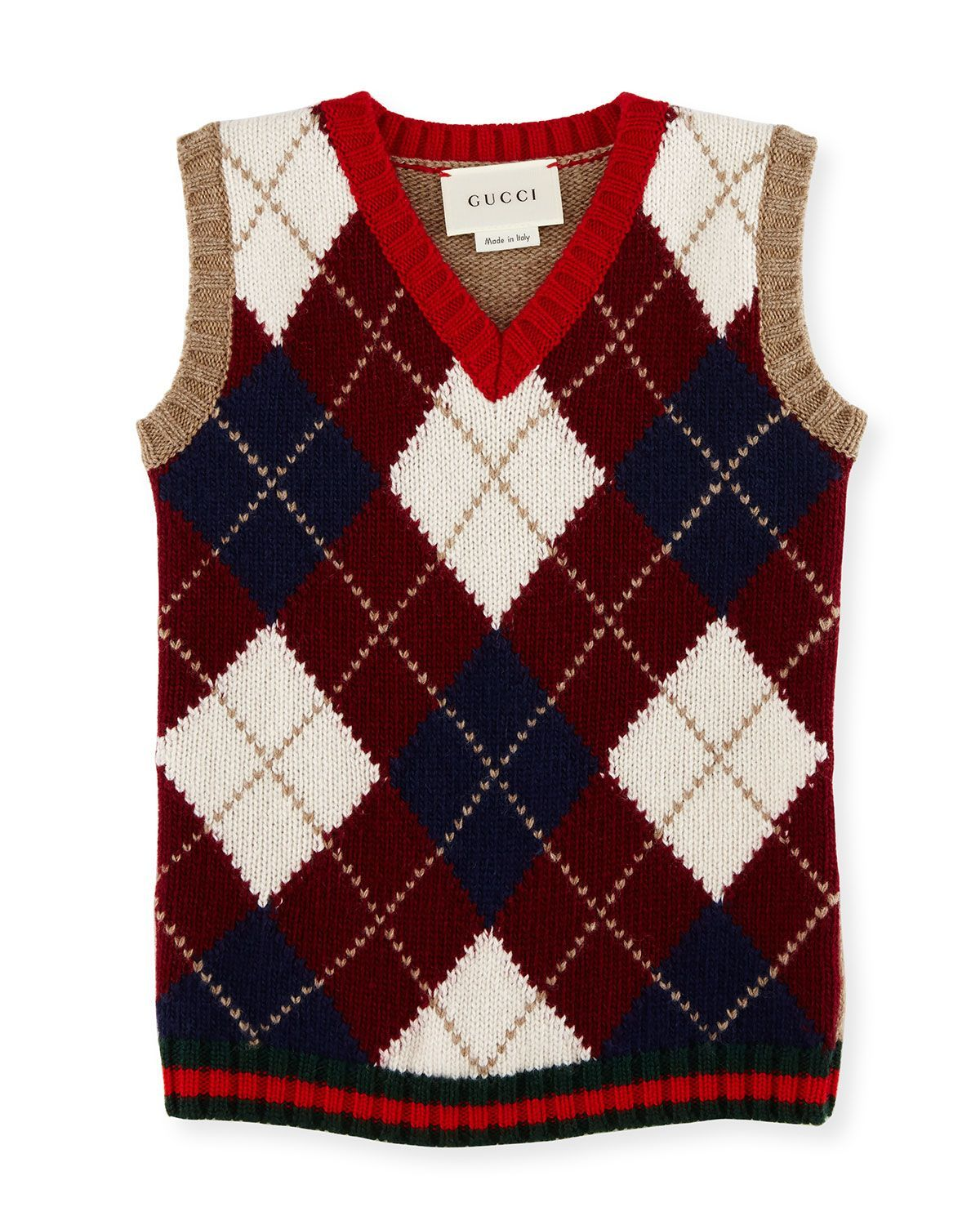 Gilet Wool Argyle Sweater Vest, Camel/Red/Green, Size 6-36 Months