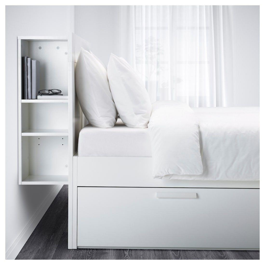 Brimnes Bettgestell Kopfteil Und Schublade Weiss Lonset Ikea Deutschland Bed Frame With Storage Headboard Storage Brimnes Bed