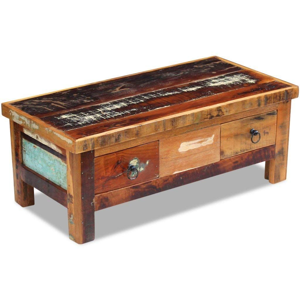 Amazonsmile Daonanba Durable Vintage Style Coffee Table Drawers Couch Table Living Room Tab Coffee Table Wood Coffee Table Vintage Reclaimed Wood Coffee Table [ 1024 x 1024 Pixel ]