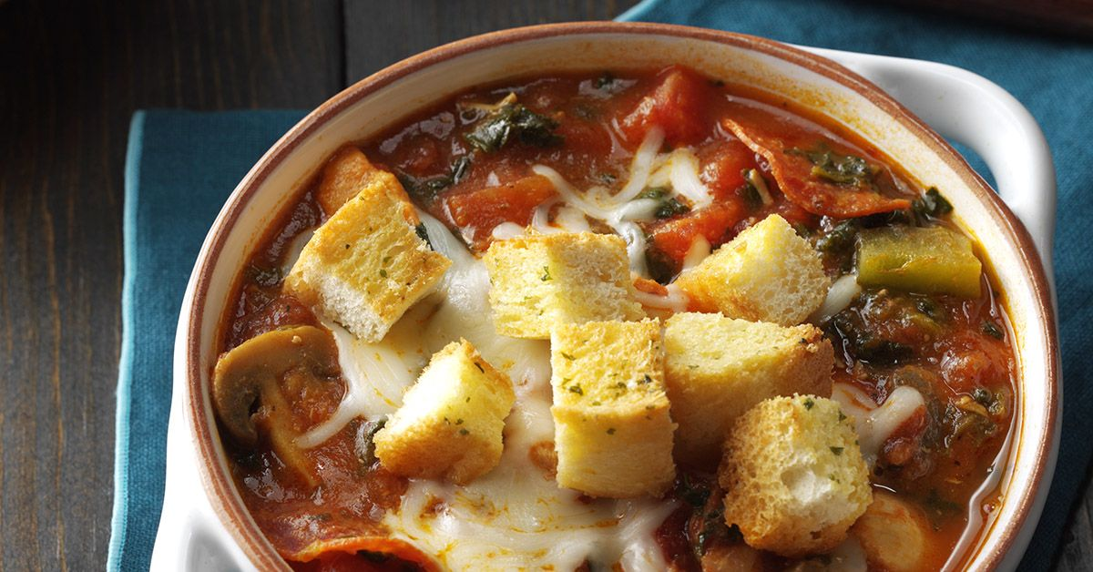 Pizza Soup with Garlic Toast Croutons Recipe Pizza soup, Soups