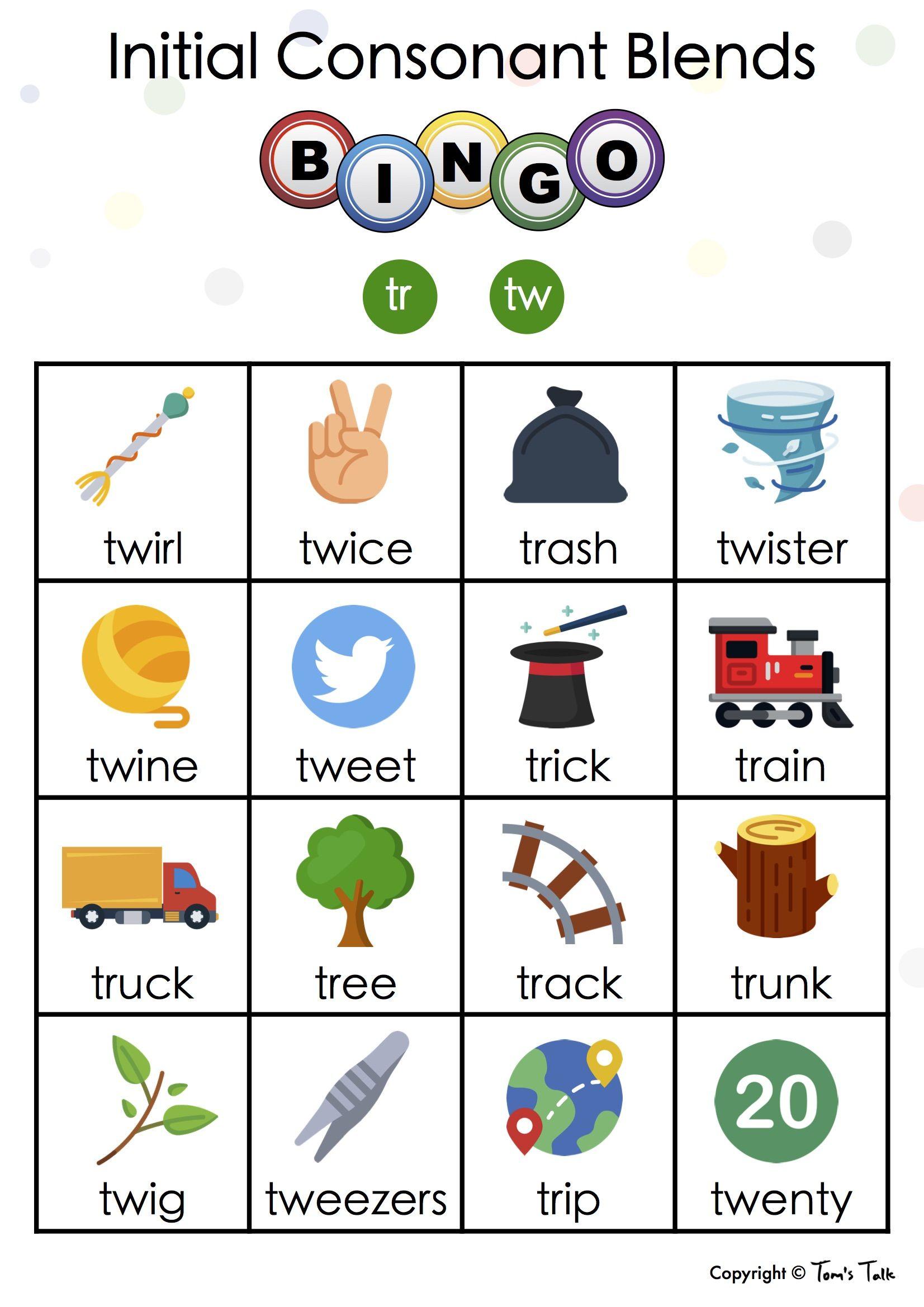 Freebie Initial Consonant Blends Tr And Tw Bingo In