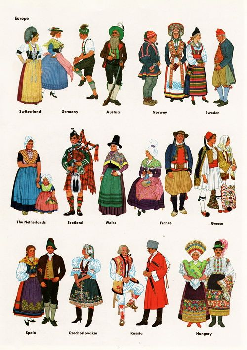 Name of national dresses of different countries in world?