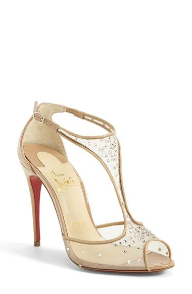 Free shipping and returns on Christian Louboutin 'Patinana' T-Strap Open Toe Pump at Nordstrom.com. Timeless yet decadent, Christian Louboutin's Patinana pump is designed to captivate attention, day or night. The open-toe silhouette features a peekaboo mesh T-strap highlighted by an exquisite array of glittering crystals. An iconic Louboutin red sole pops beneath each head-turning step.
