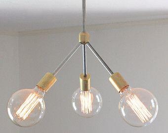 mid century modern chandelier // rustic modern brass and ...