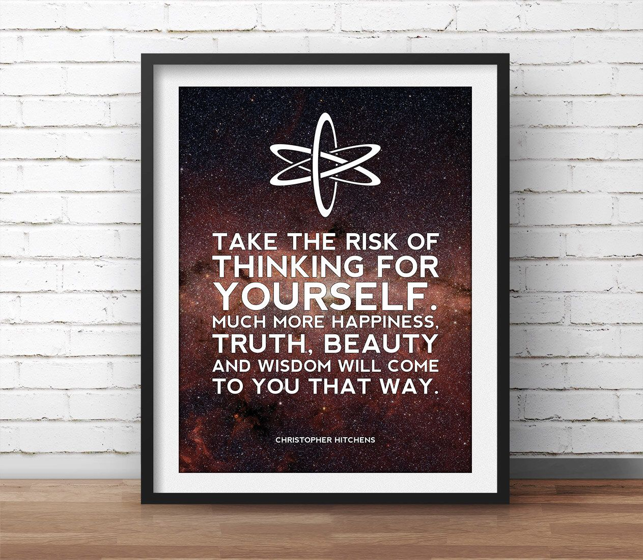 Geek Wall Art Christopher Hitchens Poster Atheism Quote Science Art