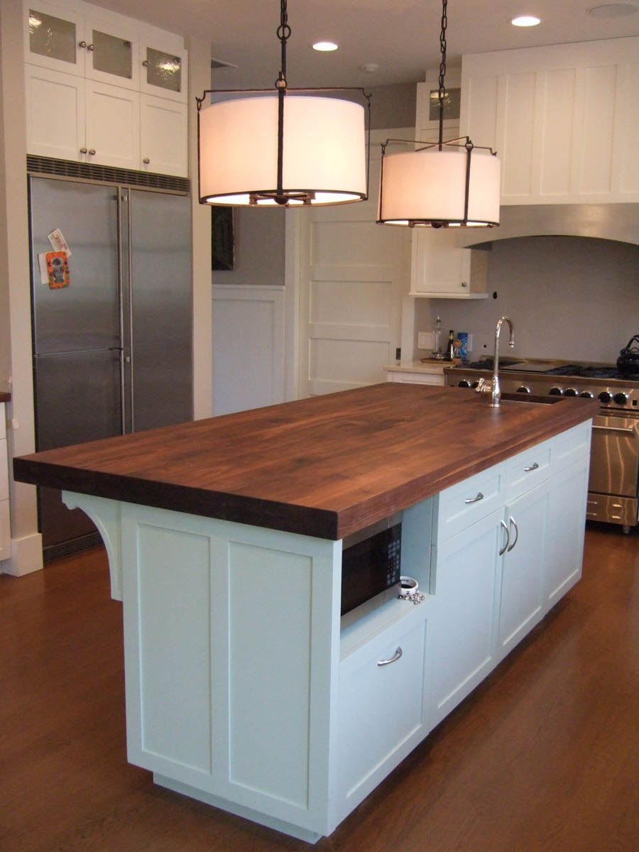 Doesn T Take Much Space To Accommodate A Microwave White Kitchen Island Butcher Block Island Kitchen Kitchen Island With Butcher Block Top