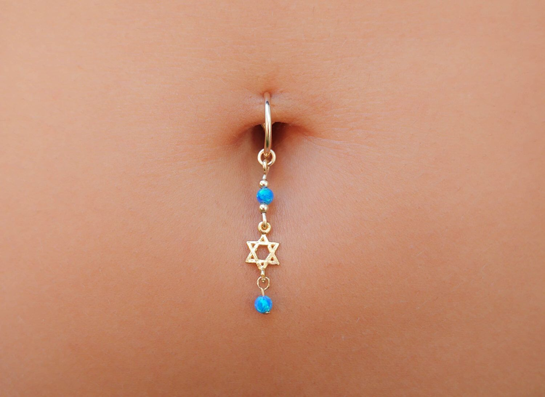 Belly button piercing earrings  Star Of David Belly Button Ring  Star Of David Navel Ring  David