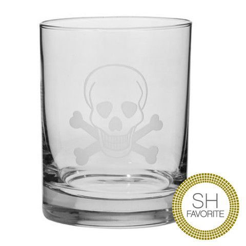 Each piece of glass and stemware is handmade in the US, using glass cutting and engraving techniques. These original and distinctive images cut on quality crystal and glassware will be unique addition to your barware collection. | http://www.scenariohome.com/collections/kendrarichards/products/skull-bones-double-glasses-set-of-4