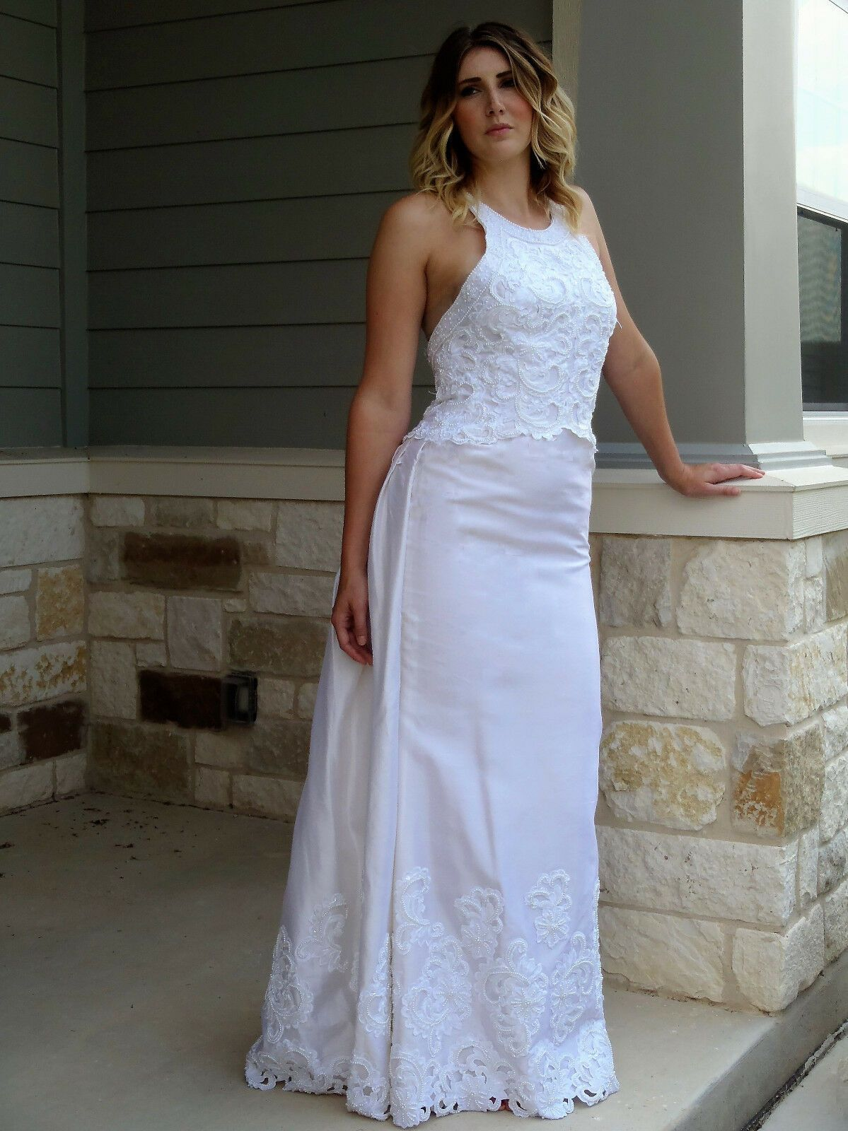 Demetrios ivory raw silk wedding dress with detachable