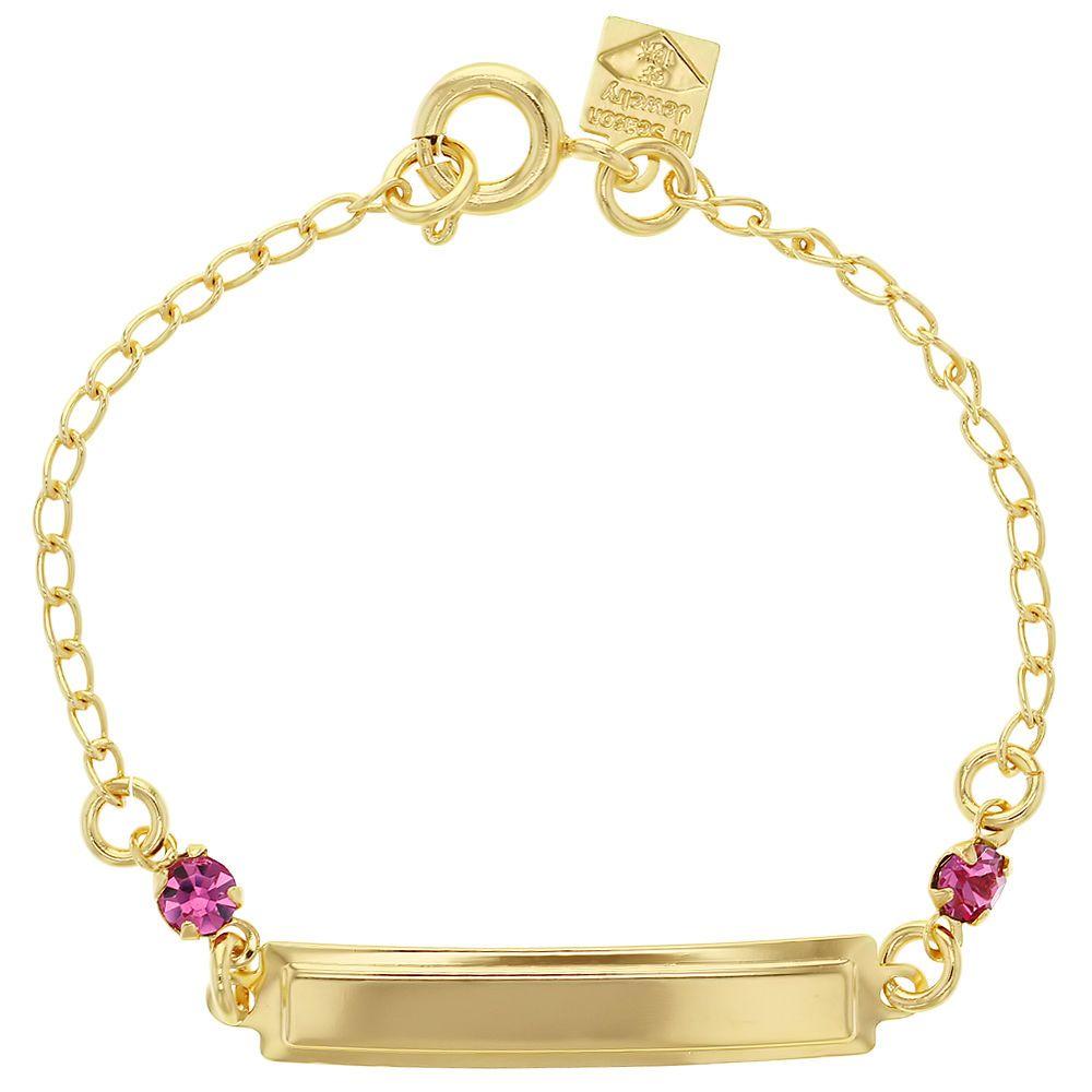 off gold filled k pink crystal tag id bracelet children baby