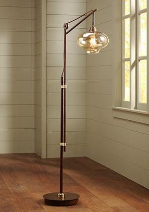 Calyx Cognac Glass Industrial Bronze Floor Lamp