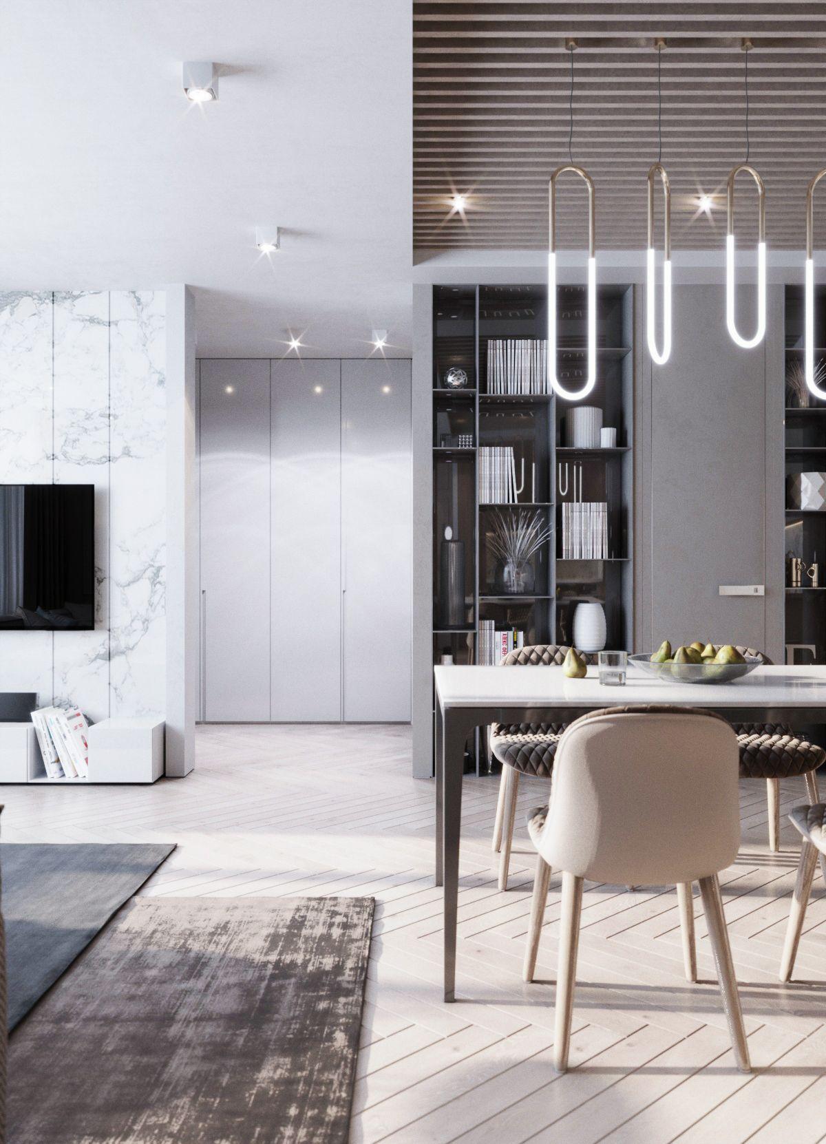 Living Room And Kitchen On Behance Minimalist Living Room Minimalist Living Room Decor Minimalist Living Room Design