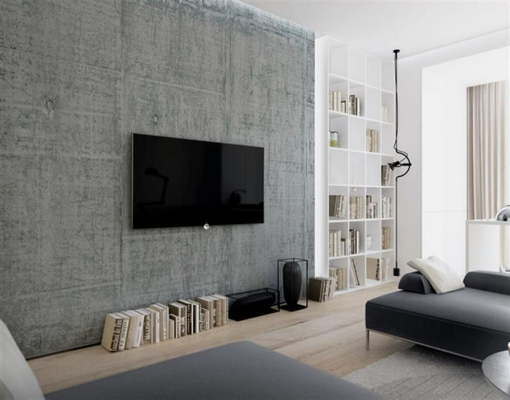 awesome concrete wall decorations minimalist living room | Interior , Wall Mount TV Ideas Giving Free Décor in Simple ...