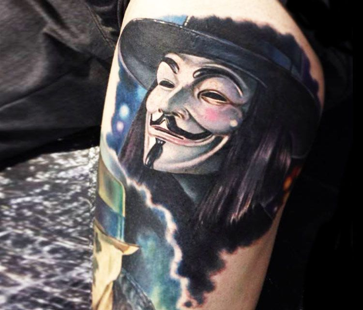 V For Vendetta Mask Tattoo by Paul Acker |...