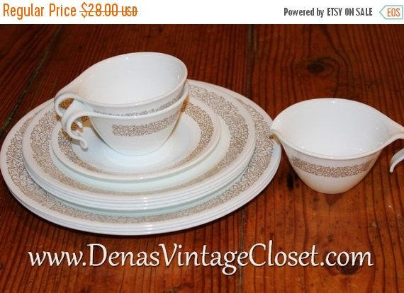 25% OFF SALE Vintage Corelle Woodland Brown Dinnerware Mixed Lot ...