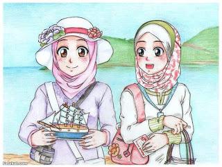 kartun sahabat cute muslimah sahabat hijab Anime