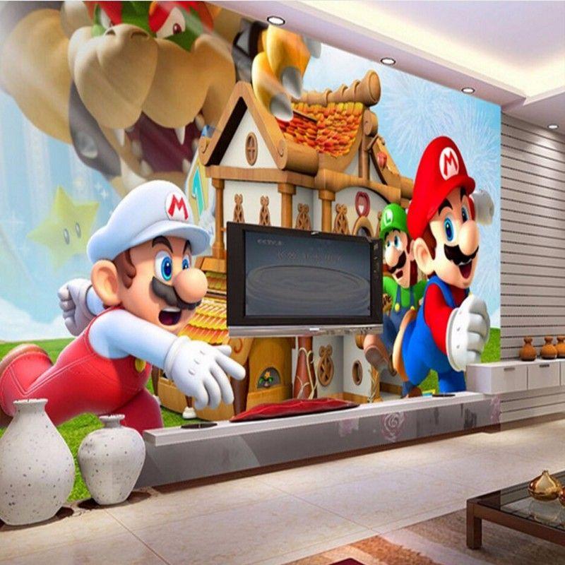 Beibehang Custom wallpaper Super Mario 3D cartoon
