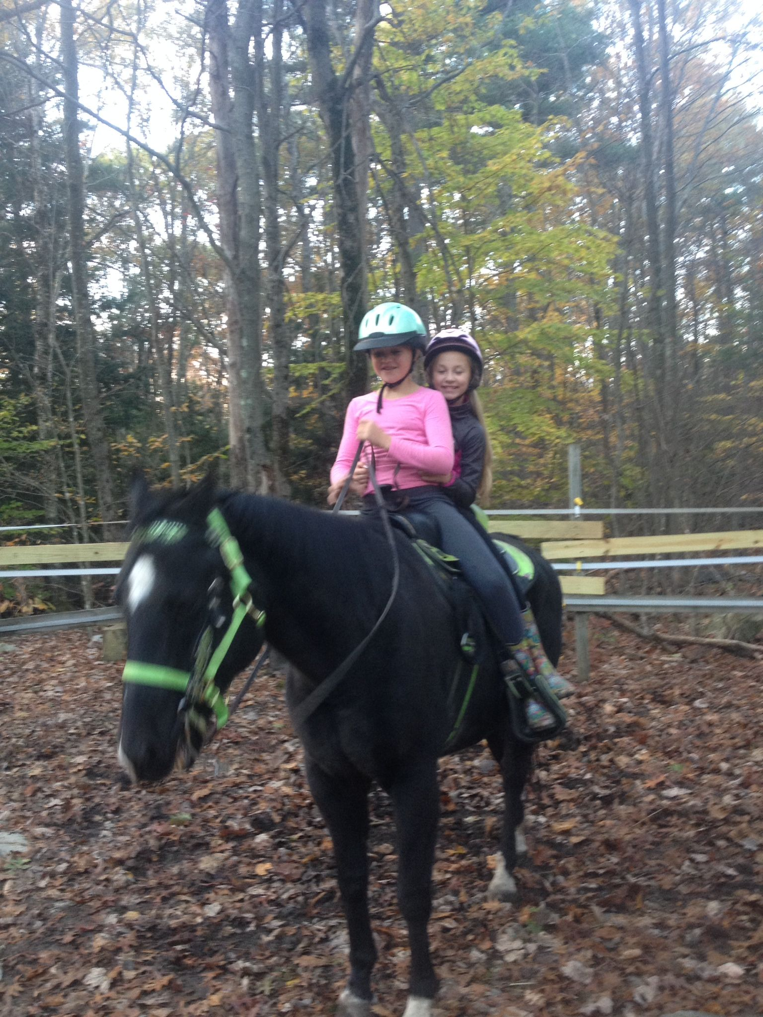 Alli and Avery riding Prince double...