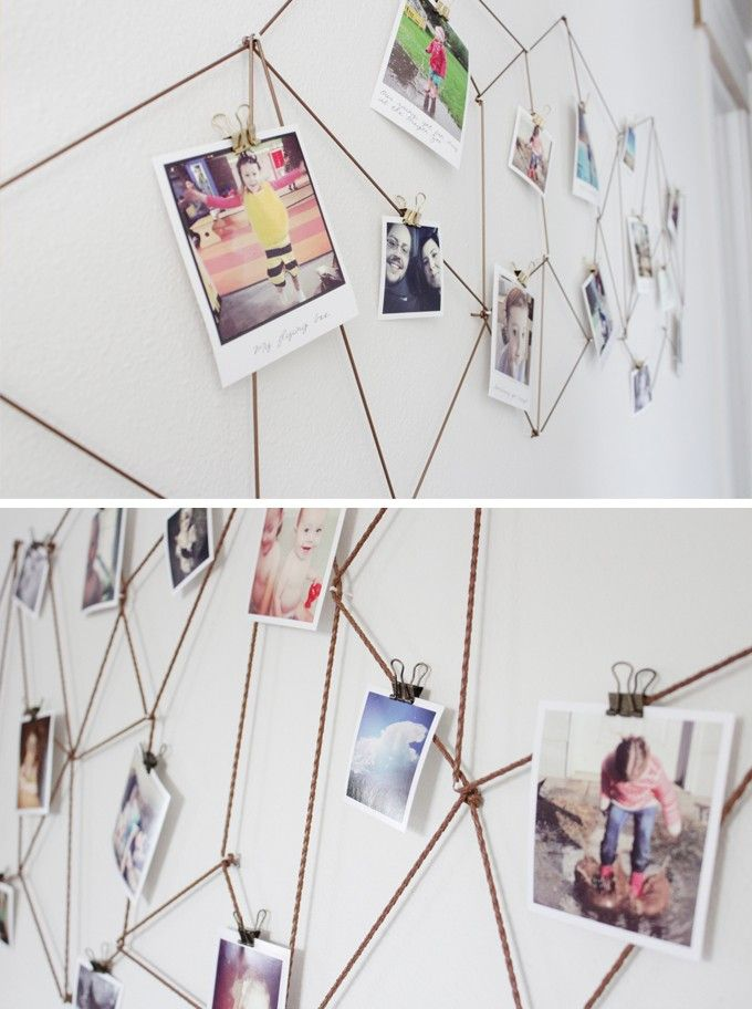 where to buy diy geometric web photo wall hanging photos display idea bedroom wall - Diy Bedroom Wall Decorating Ideas