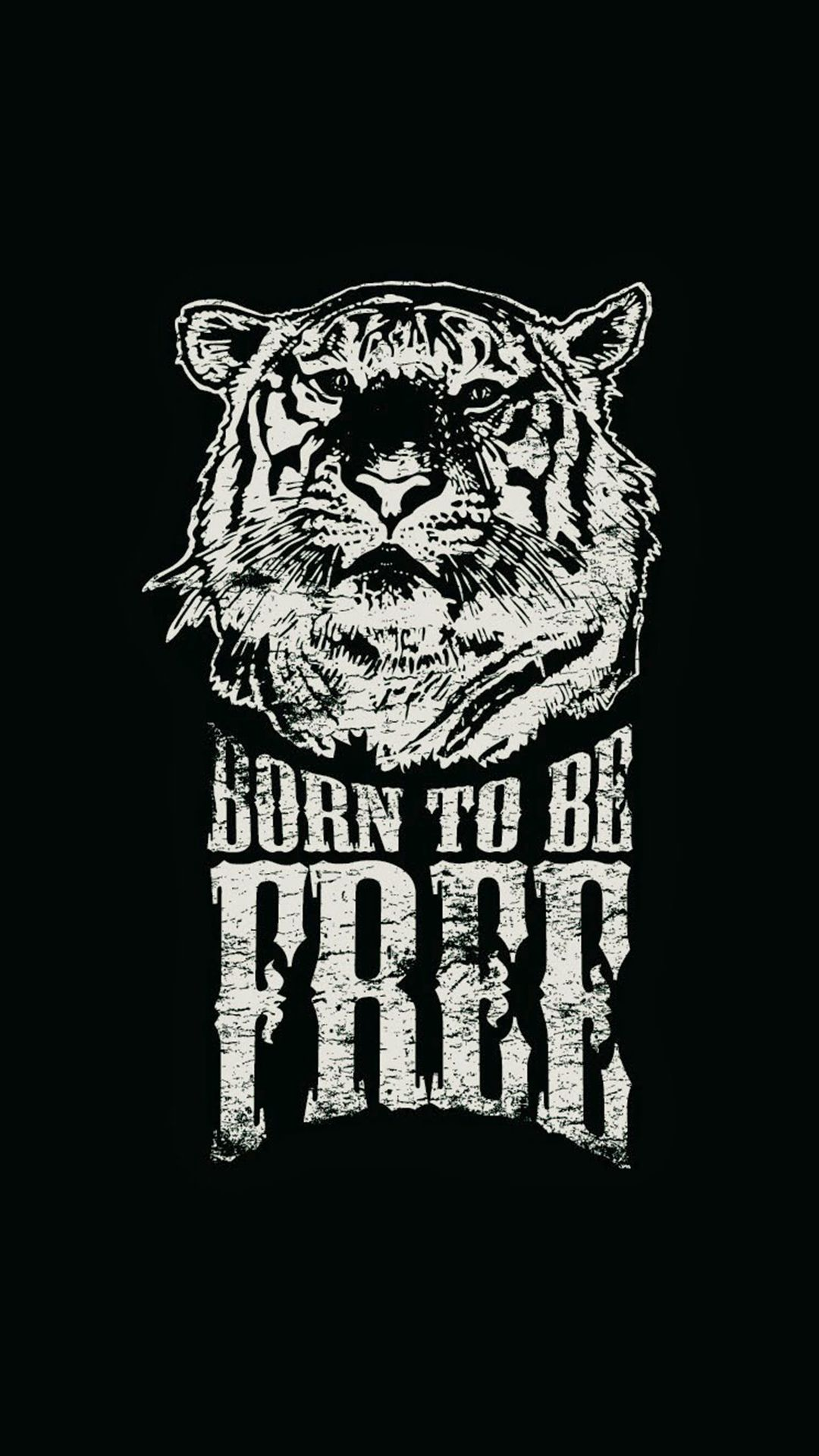 Born To Be Free Tiger Illustration Iphone 6 Wallpaper Download Iphone Wallpapers Ipad Wallpapers One St Tiger Illustration Iphone 5s Wallpaper Vintage Fonts