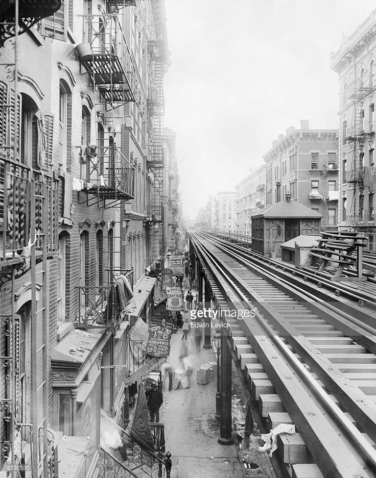 Ca.1899 The Elevated 'El' Train Tracks Running Along Third
