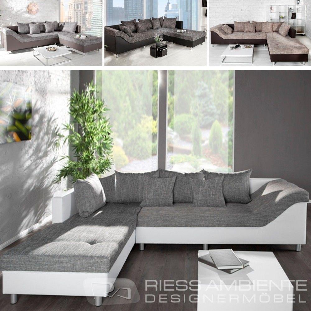 Design Ecksofa Wave Strukturstoff Farbwahl Grosses Sofa Couch Wohnlandschaft Couch Wohnlandschaft Grosses Sofa Wohnen