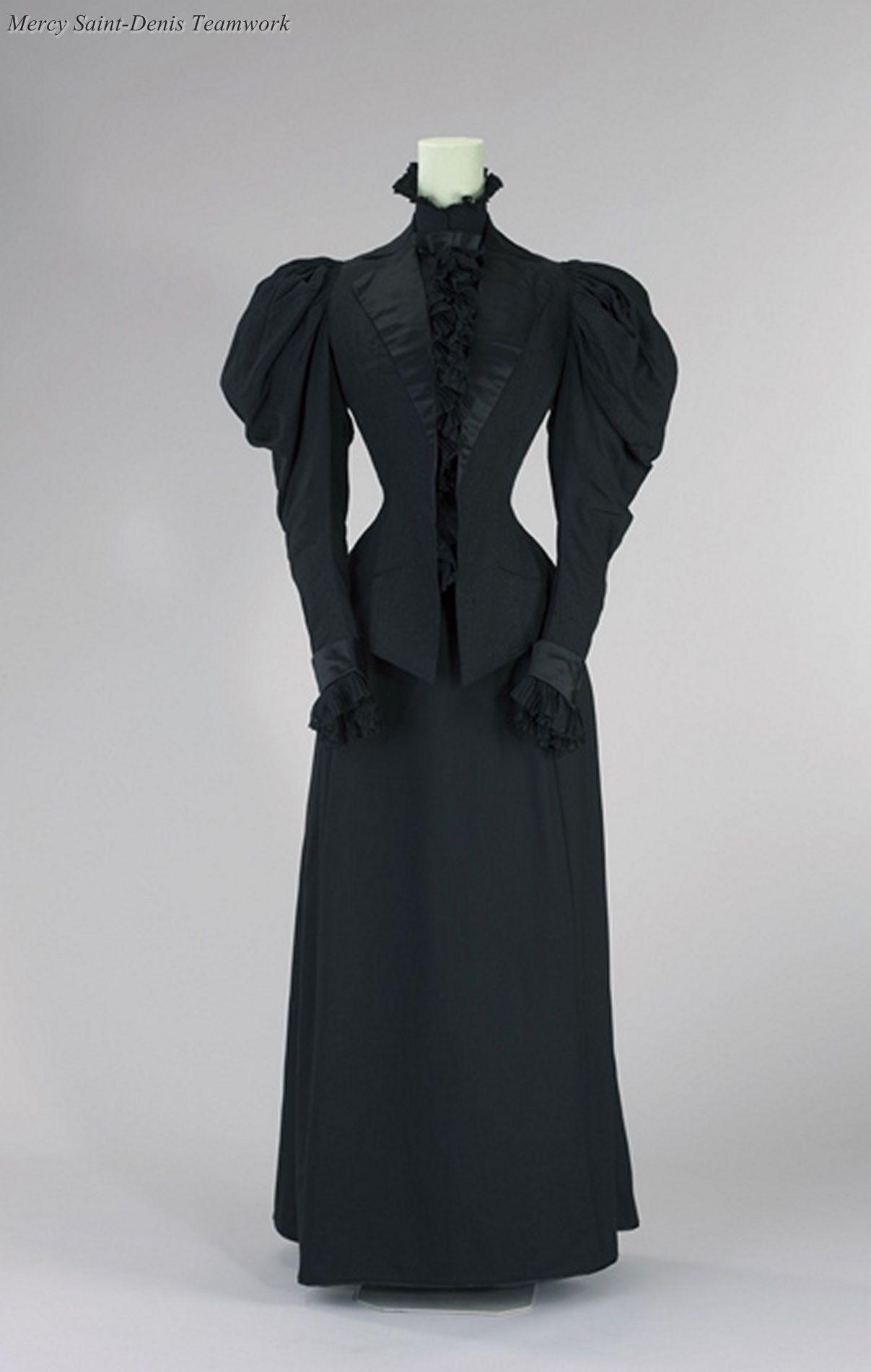 Promenadenkostüm, um 1893 - 95, Seide, Wolle, getragen von ...