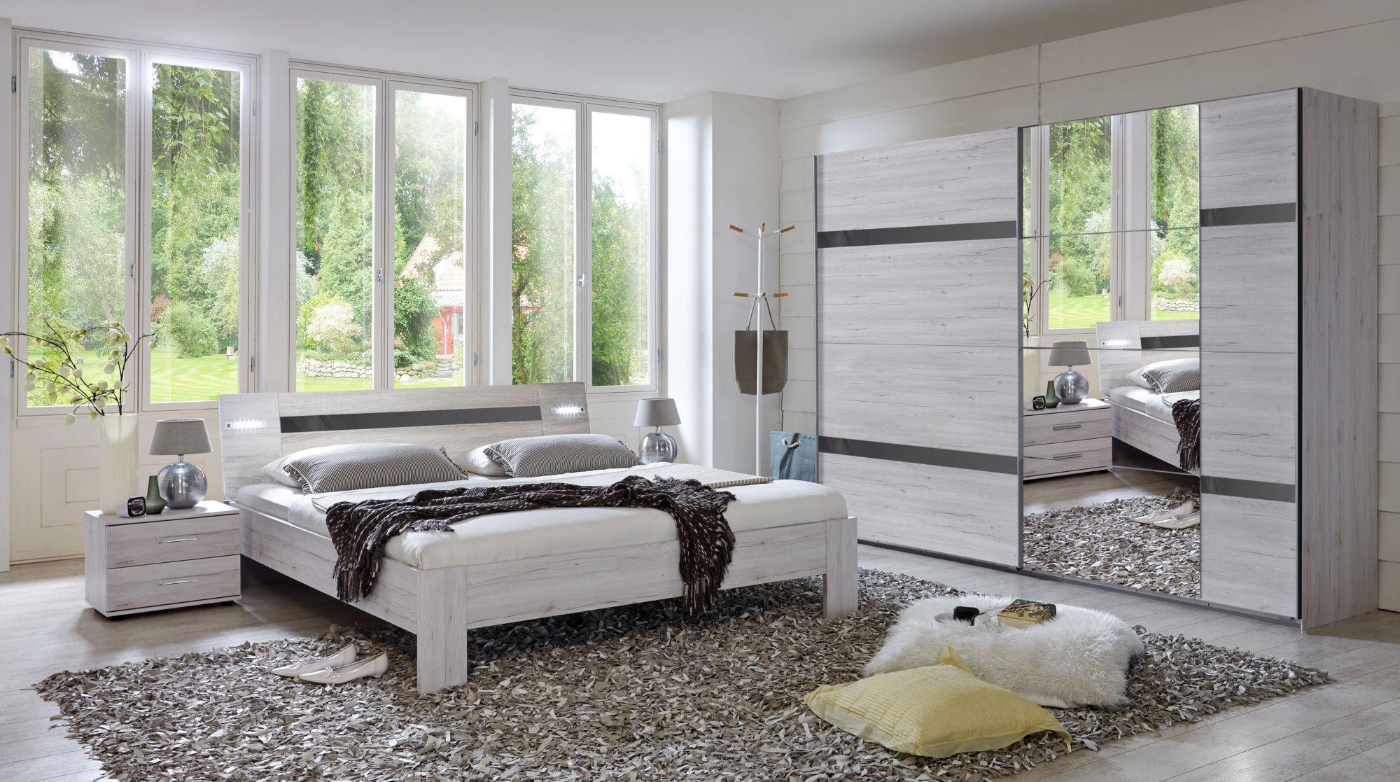 Schlafzimmer Mit Bett 180 X 200 Cm Weisseiche/ Hochglanz Grau Woody  132 01617 Holz Modern Jetzt Bestellen Unter: ...