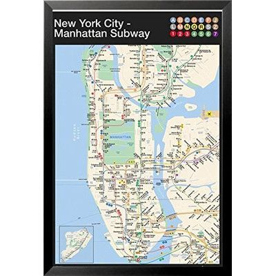 Framed New York Subway Map.Buy Art For Less New York City Manhattan Subway Map Framed Graphic