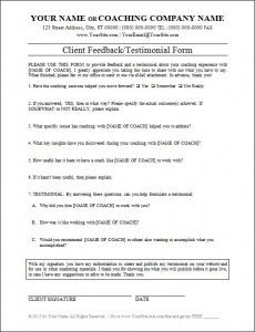 CoachingFormsClientFeedbackTestmionialFormXJpg