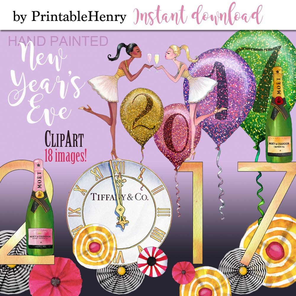 New Years Eve clipart Planner clipart party clipart Louis