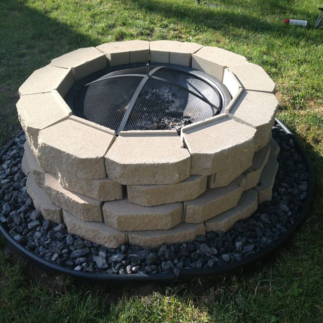 Our Finished Fire Pit! Our First Home Project! Blocks, Decorative Rocks And  Fire