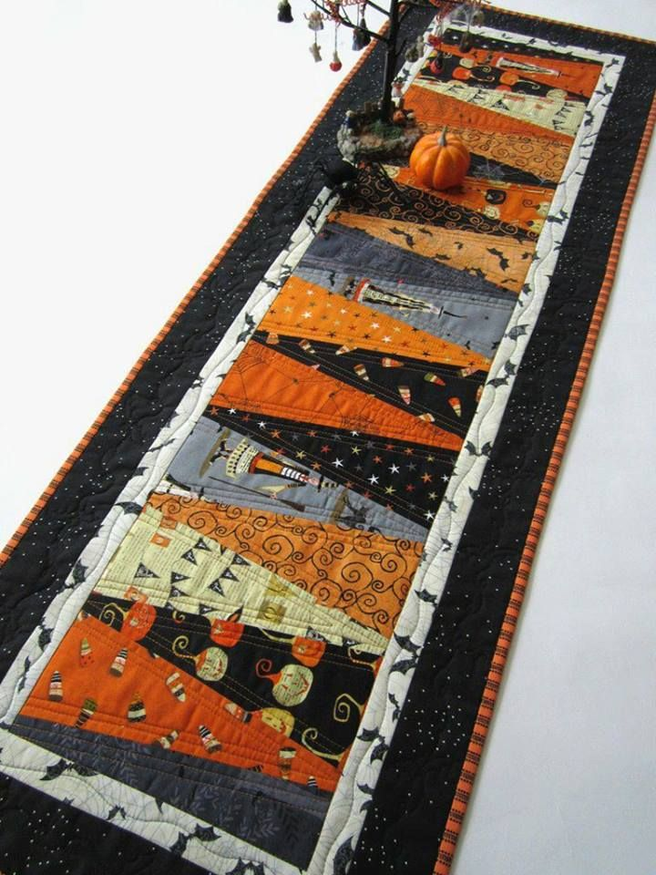This patchwork table mat will be perfect for a Halloween party ...