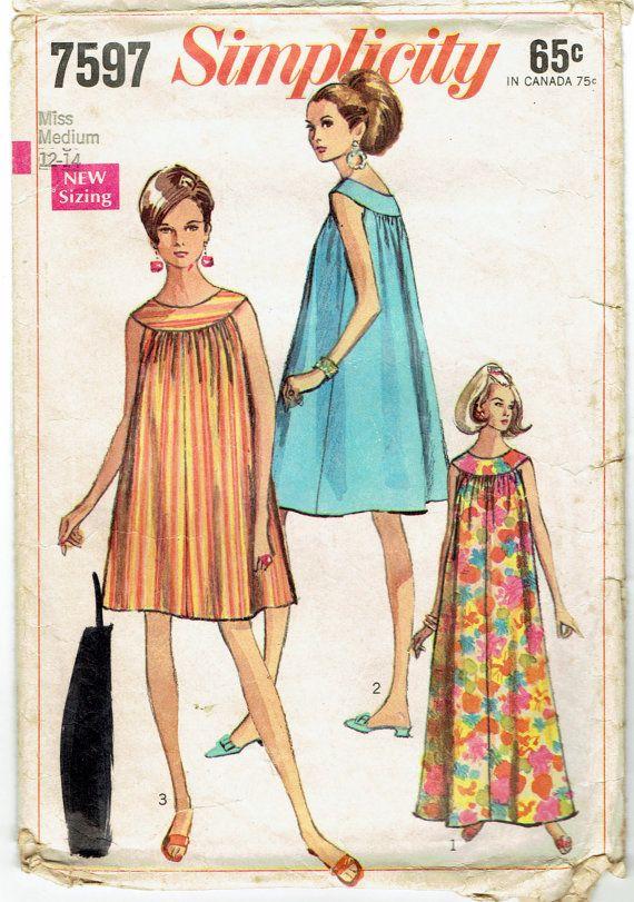 30cccdf4f5873 Sewing Pattern Simplicity 7597 Vintage 1960s Womens' Maxi, Muu-Muu ...
