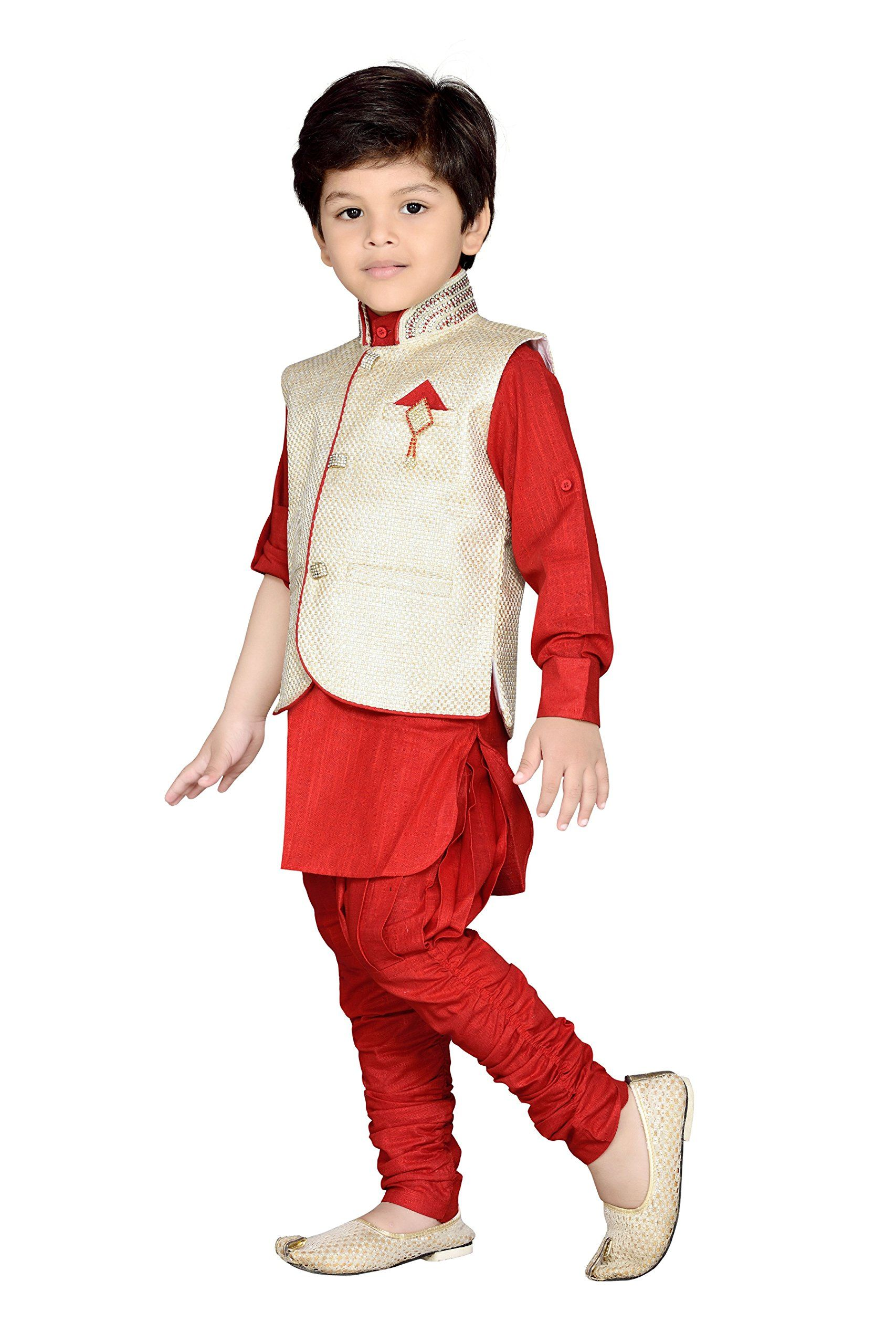 4c0363d7df AJ Dezines Kids Indian Wear Bollywood Style Kurta Pyjama Waistcoat for Baby  Boys 637RED0 >>> Be certain to take a look at this outstanding item.